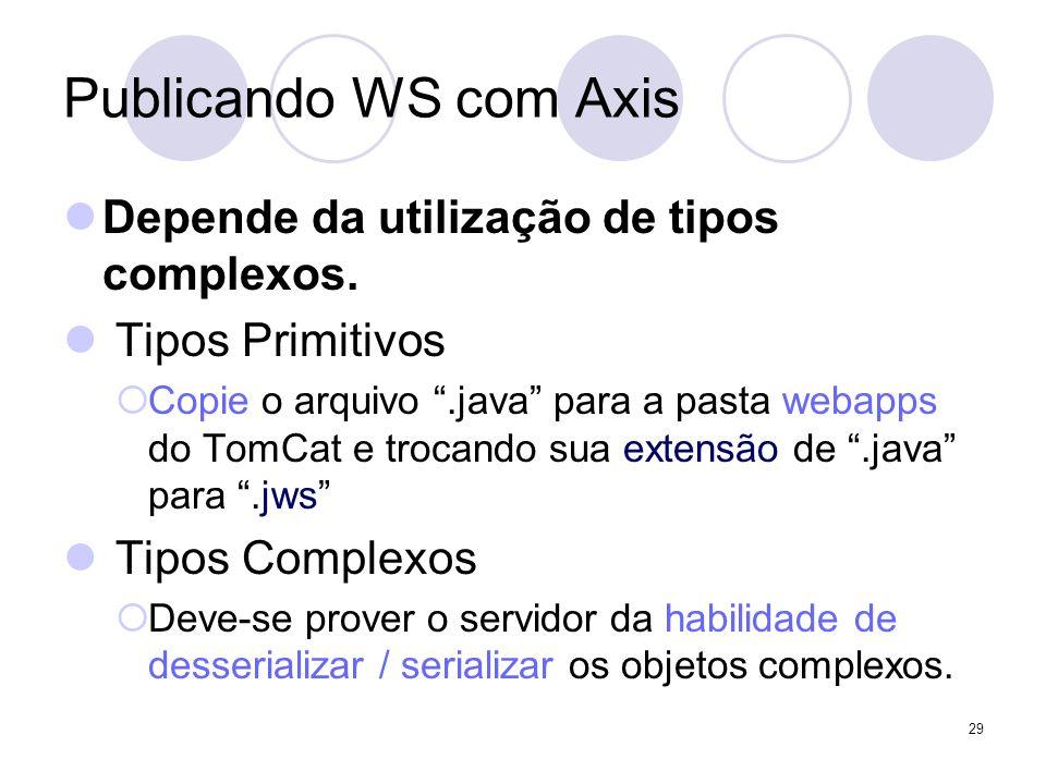 Publicando WS com Axis Depende da utilização de tipos complexos. Tipos Primitivos Copie o arquivo.java para a pasta webapps do TomCat e trocando sua e