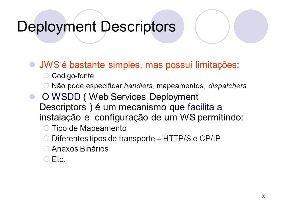 Deployment Descriptors JWS é bastante simples, mas possui limitações: Código-fonte Não pode especificar handlers, mapeamentos, dispatchers O WSDD ( We