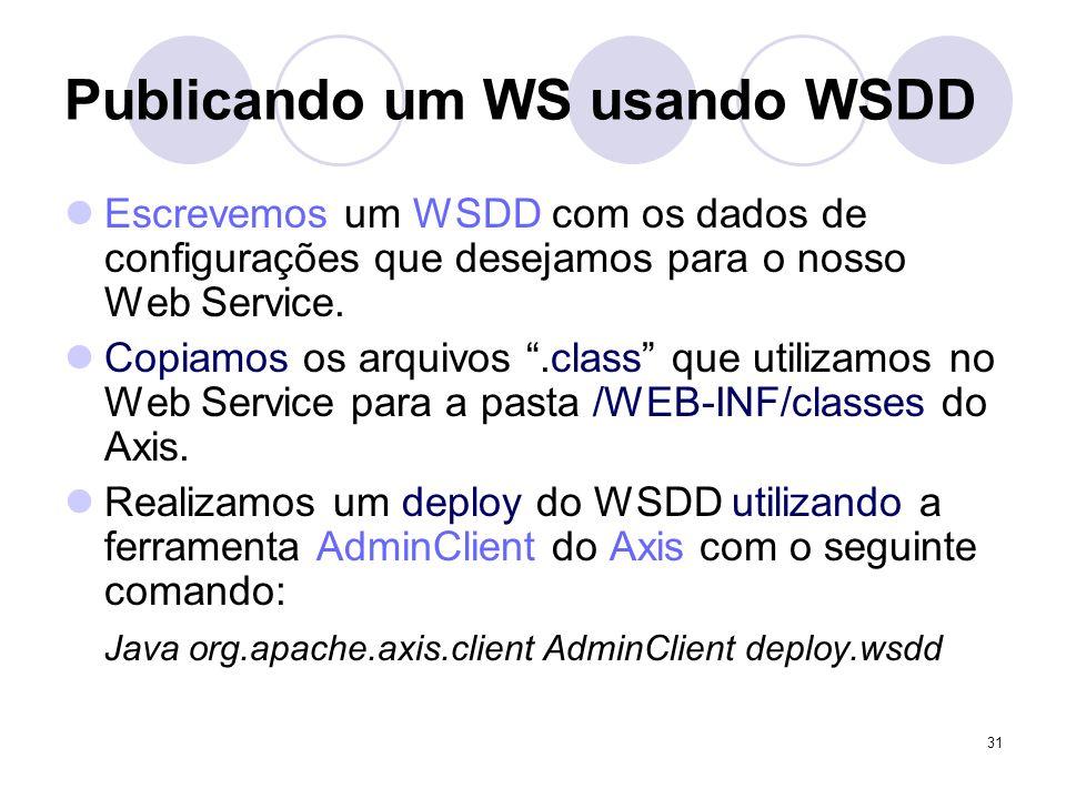Publicando um WS usando WSDD Escrevemos um WSDD com os dados de configurações que desejamos para o nosso Web Service. Copiamos os arquivos.class que u