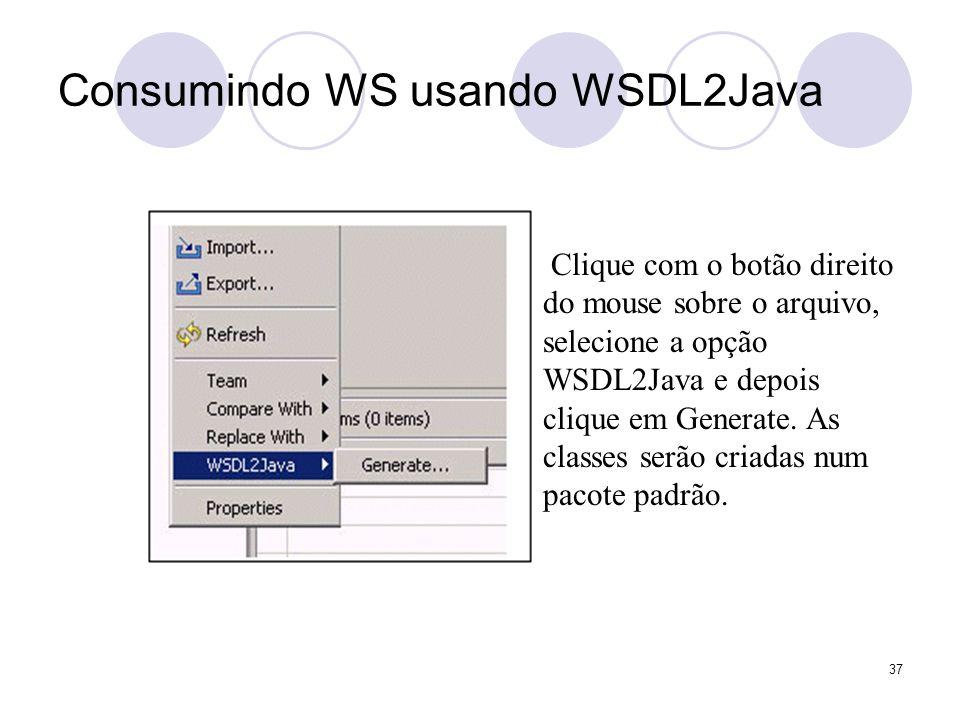 Clique com o botão direito do mouse sobre o arquivo, selecione a opção WSDL2Java e depois clique em Generate. As classes serão criadas num pacote padr