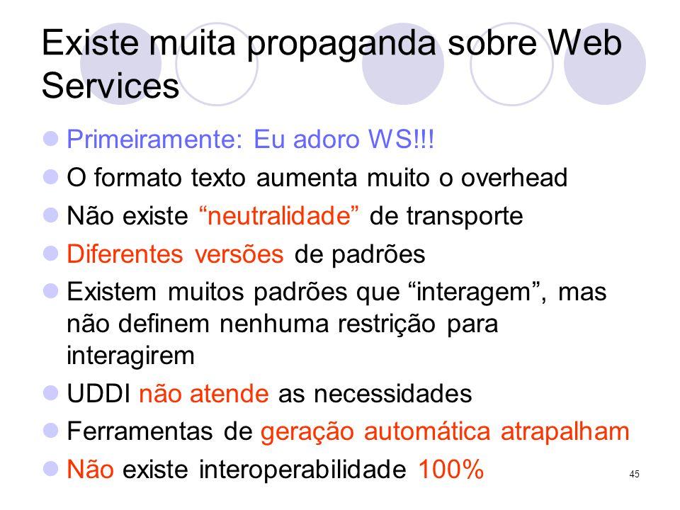 Existe muita propaganda sobre Web Services Primeiramente: Eu adoro WS!!! O formato texto aumenta muito o overhead Não existe neutralidade de transport