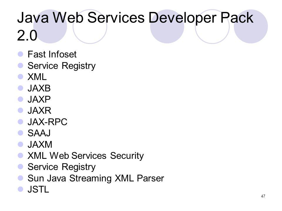 Java Web Services Developer Pack 2.0 Fast Infoset Service Registry XML JAXB JAXP JAXR JAX-RPC SAAJ JAXM XML Web Services Security Service Registry Sun