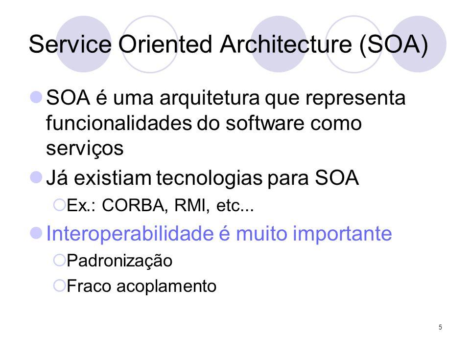 Service Oriented Architecture (SOA) SOA é uma arquitetura que representa funcionalidades do software como serviços Já existiam tecnologias para SOA Ex
