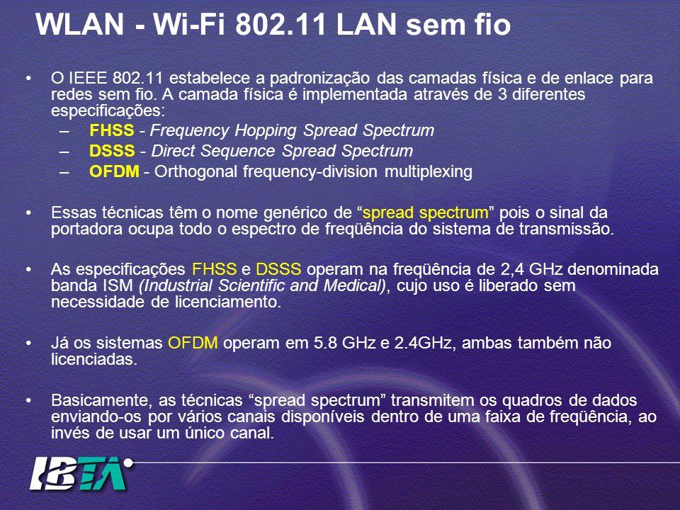 WLAN - Wi-Fi 802.11 LAN sem fio O IEEE 802.11 estabelece a padronização das camadas física e de enlace para redes sem fio. A camada física é implement