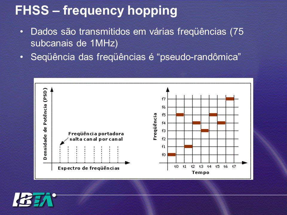 FHSS – frequency hopping Dados são transmitidos em várias freqüências (75 subcanais de 1MHz) Seqüência das freqüências é pseudo-randômica