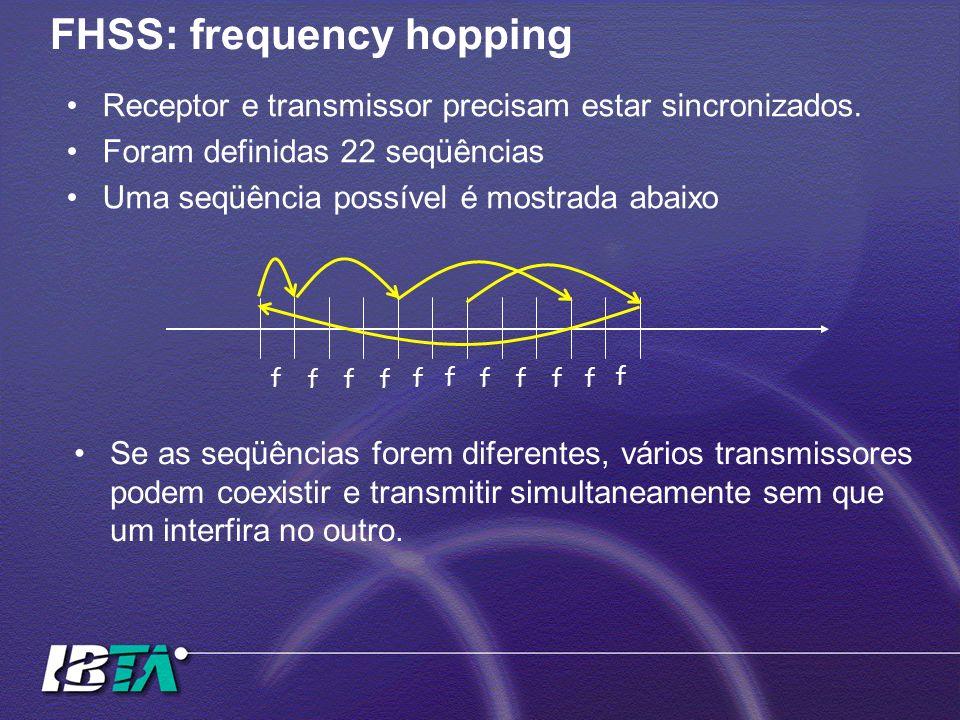 FHSS: frequency hopping Receptor e transmissor precisam estar sincronizados. Foram definidas 22 seqüências Uma seqüência possível é mostrada abaixo f