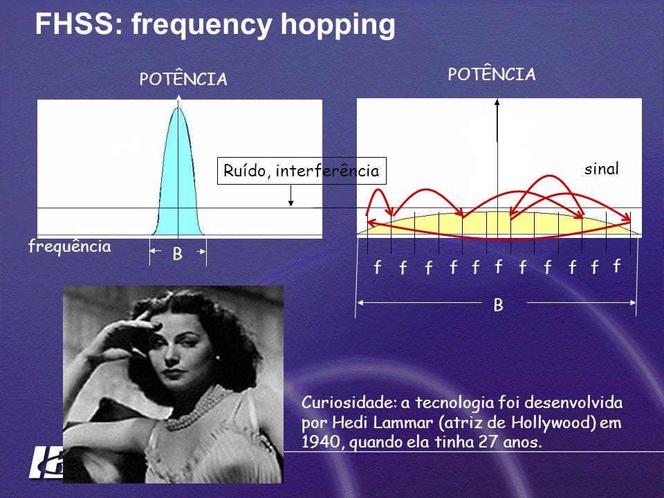 FHSS: frequency hopping B sinal Ruído, interferência POTÊNCIA signal B frequência f f f f f f f f f f f Curiosidade: a tecnologia foi desenvolvida por