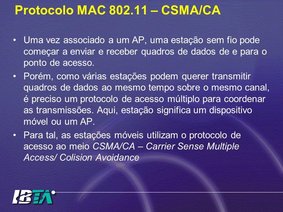 Protocolo MAC 802.11 – CSMA/CA Uma vez associado a um AP, uma estação sem fio pode começar a enviar e receber quadros de dados de e para o ponto de ac