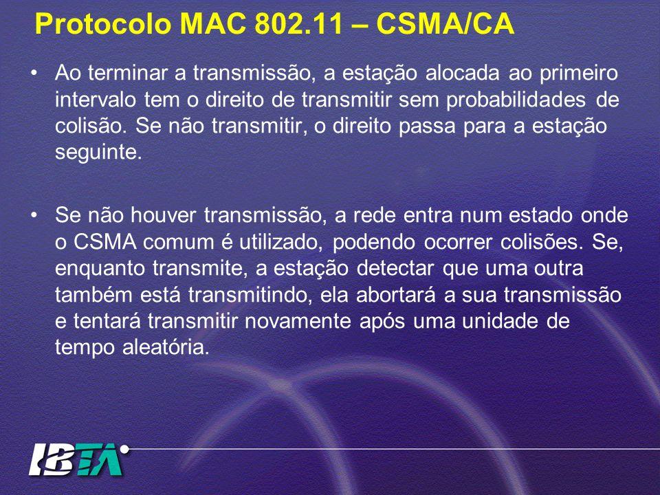 Protocolo MAC 802.11 – CSMA/CA Ao terminar a transmissão, a estação alocada ao primeiro intervalo tem o direito de transmitir sem probabilidades de co