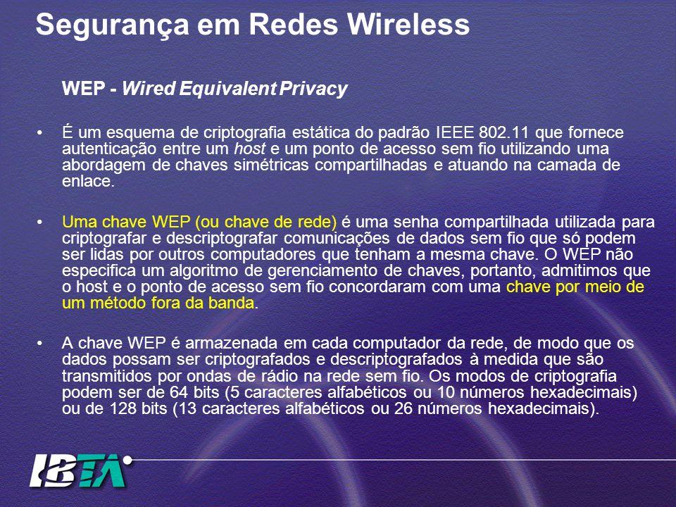 Segurança em Redes Wireless WEP - Wired Equivalent Privacy É um esquema de criptografia estática do padrão IEEE 802.11 que fornece autenticação entre