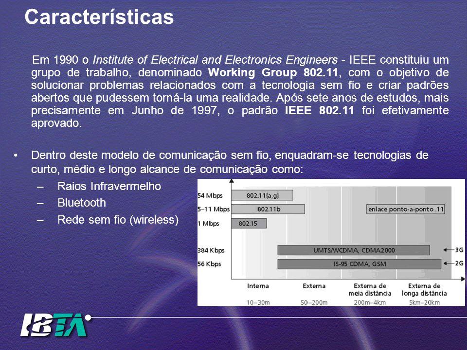 Características Em 1990 o Institute of Electrical and Electronics Engineers - IEEE constituiu um grupo de trabalho, denominado Working Group 802.11, c