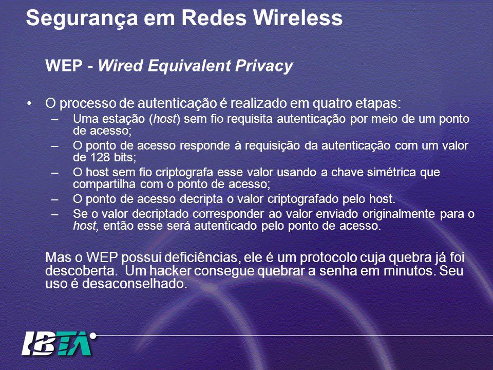 Segurança em Redes Wireless WEP - Wired Equivalent Privacy O processo de autenticação é realizado em quatro etapas: –Uma estação (host) sem fio requis