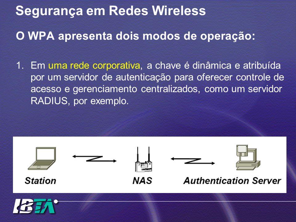 Segurança em Redes Wireless O WPA apresenta dois modos de operação: 1.Em uma rede corporativa, a chave é dinâmica e atribuída por um servidor de auten