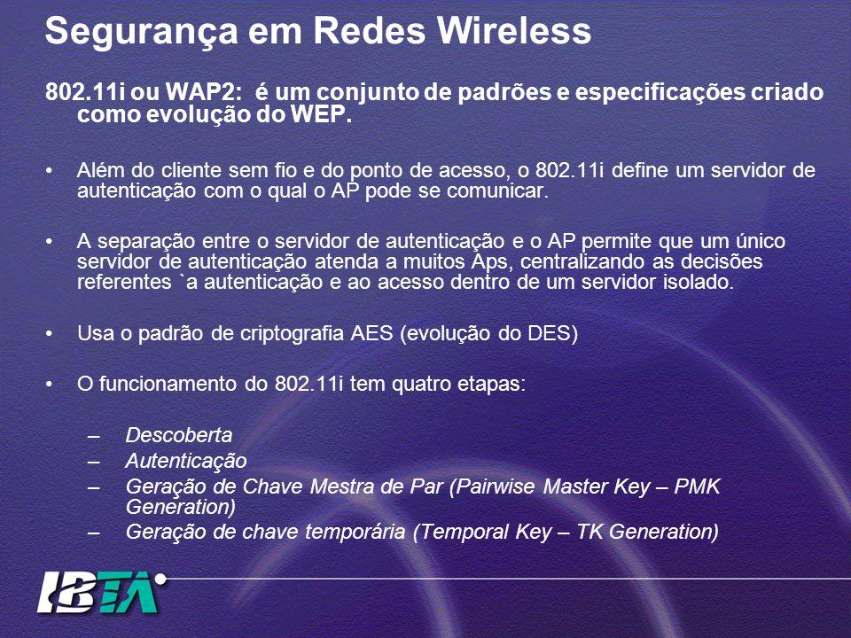 Segurança em Redes Wireless 802.11i ou WAP2: é um conjunto de padrões e especificações criado como evolução do WEP. Além do cliente sem fio e do ponto