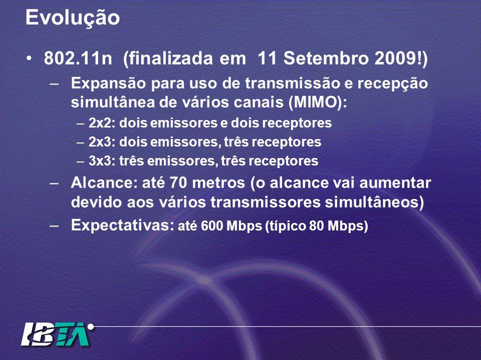 Evolução 802.11n (finalizada em 11 Setembro 2009!) –Expansão para uso de transmissão e recepção simultânea de vários canais (MIMO): –2x2: dois emissor