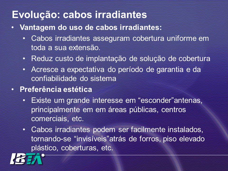 Vantagem do uso de cabos irradiantes: Cabos irradiantes asseguram cobertura uniforme em toda a sua extensão. Reduz custo de implantação de solução de