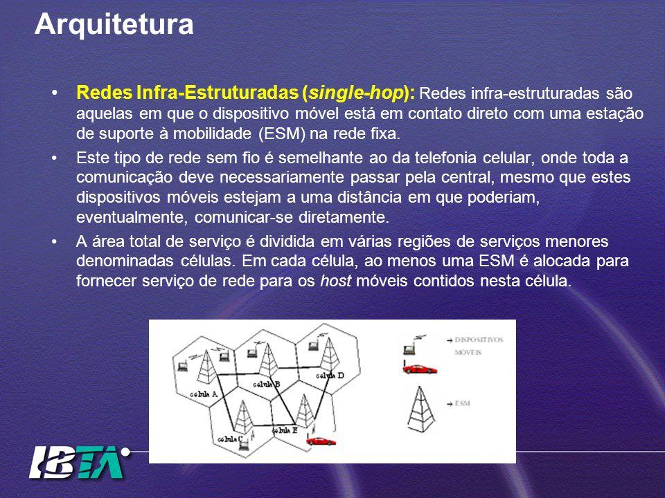 Arquitetura Redes Infra-Estruturadas (single-hop): Redes infra-estruturadas são aquelas em que o dispositivo móvel está em contato direto com uma esta