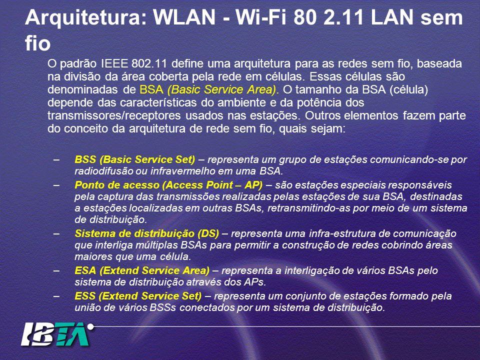 Arquitetura: WLAN - Wi-Fi 80 2.11 LAN sem fio O padrão IEEE 802.11 define uma arquitetura para as redes sem fio, baseada na divisão da área coberta pe