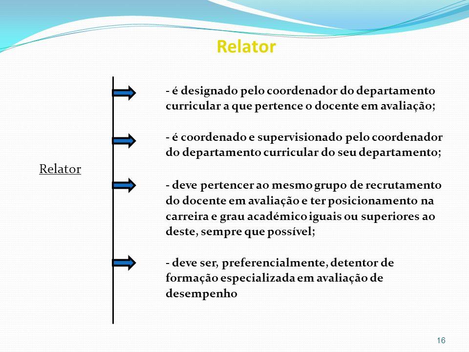 Relator - é designado pelo coordenador do departamento curricular a que pertence o docente em avaliação; - é coordenado e supervisionado pelo coordena