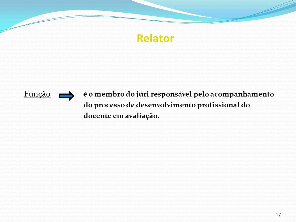 Relator Função é o membro do júri responsável pelo acompanhamento do processo de desenvolvimento profissional do docente em avaliação. 17