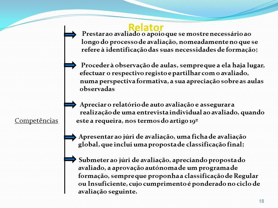 Relator Prestar ao avaliado o apoio que se mostre necessário ao longo do processo de avaliação, nomeadamente no que se refere à identificação das suas