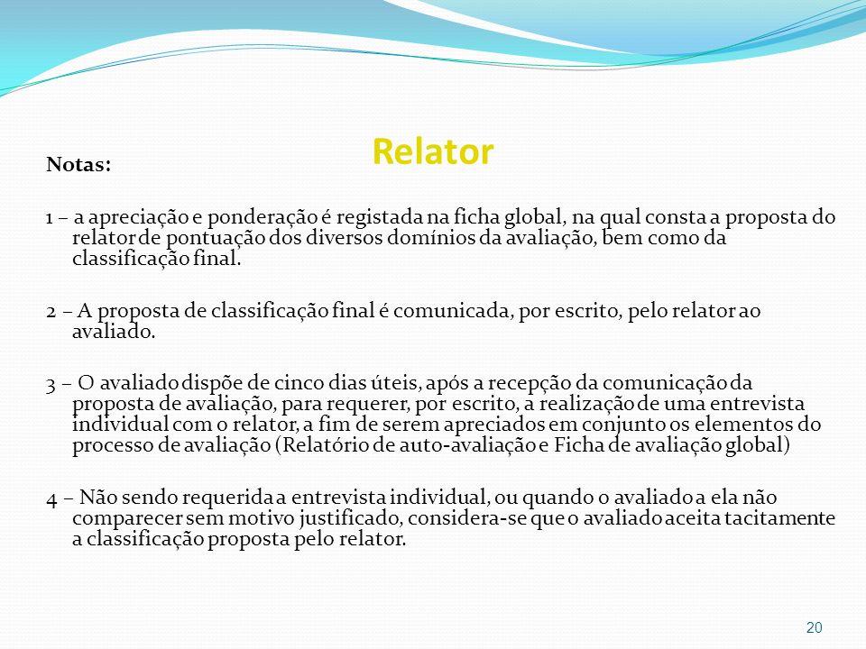 Relator Notas: 1 – a apreciação e ponderação é registada na ficha global, na qual consta a proposta do relator de pontuação dos diversos domínios da a