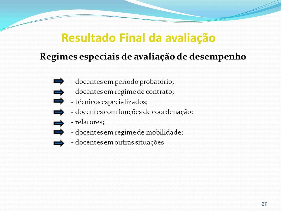 Resultado Final da avaliação Regimes especiais de avaliação de desempenho - docentes em período probatório; - docentes em regime de contrato; - técnic