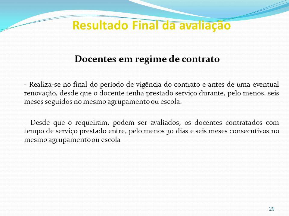 Resultado Final da avaliação Docentes em regime de contrato - Realiza-se no final do período de vigência do contrato e antes de uma eventual renovação