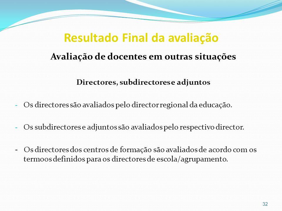 Resultado Final da avaliação Avaliação de docentes em outras situações Directores, subdirectores e adjuntos - Os directores são avaliados pelo directo