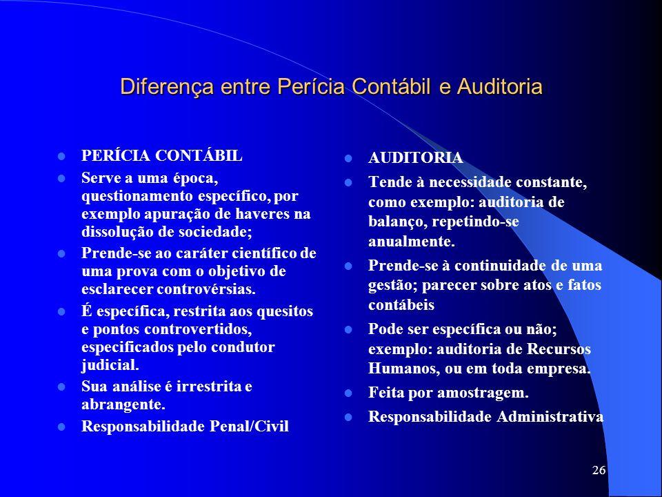 25 Perícia X Auditoria A perícia serve a uma época, a um questionamento, a uma necessidade; A auditoria tende a ser a necessidade constante; A auditor