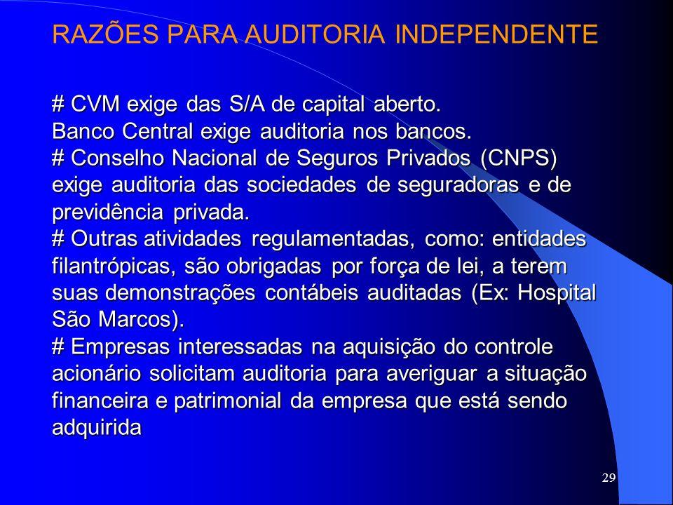 28 Objetivos da Auditoria Certificação da veracidade das demonstrações financeiras preparadas pela companhia auditada e avaliação de controle. Verific