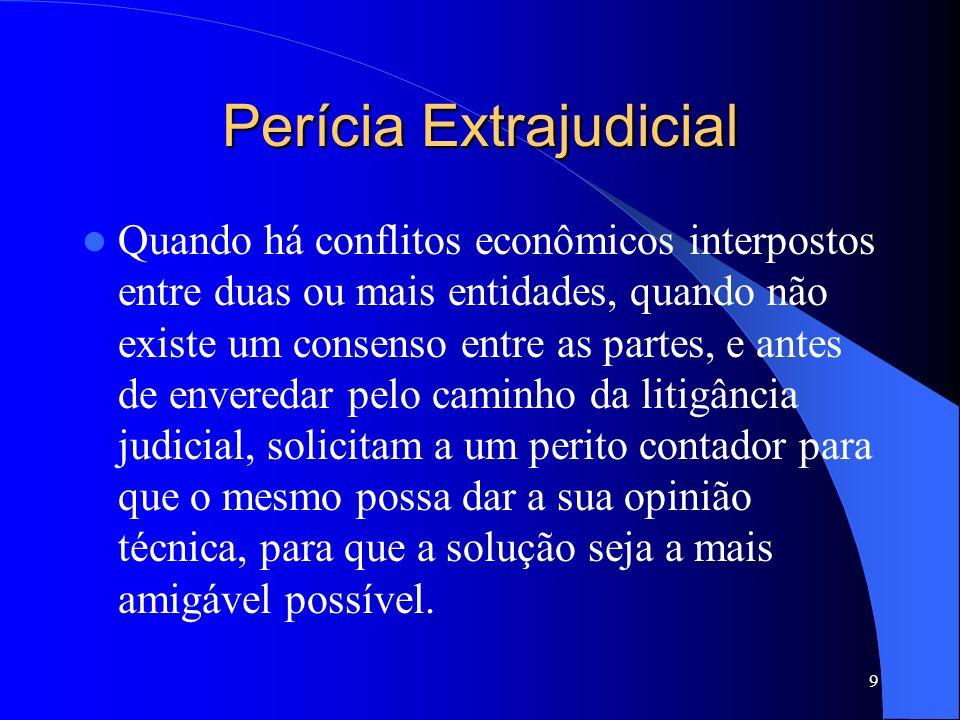 8 Perícia Administrativa É o exame decisivo de situações, em caráter administrativo, quando o responsável pelos negócios de uma entidade econômica se