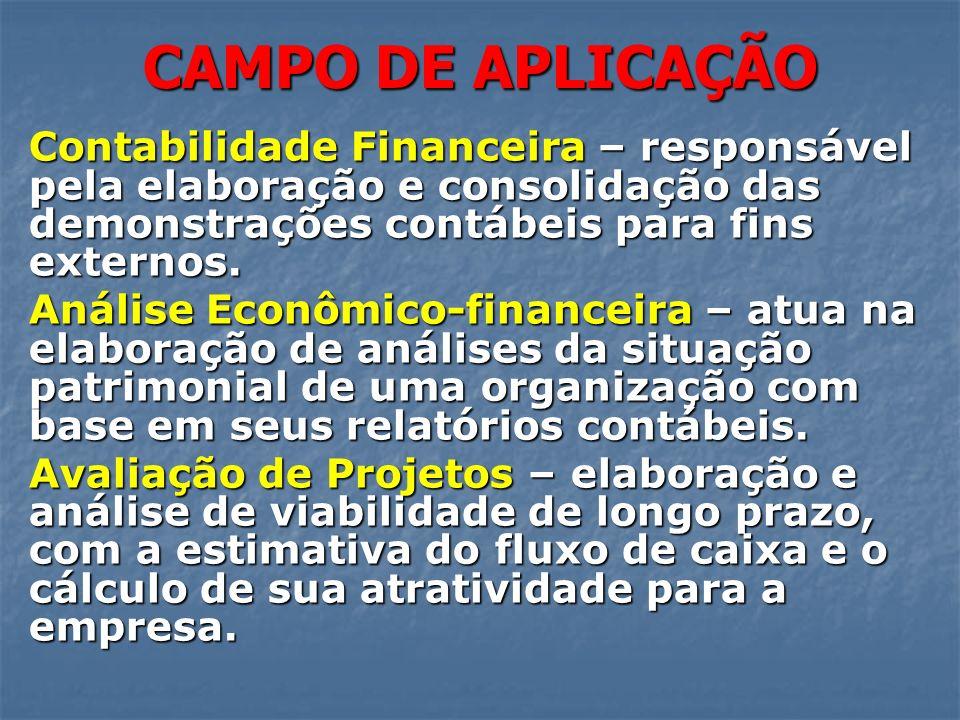 CAMPO DE APLICAÇÃO Contabilidade Financeira – responsável pela elaboração e consolidação das demonstrações contábeis para fins externos. Análise Econô