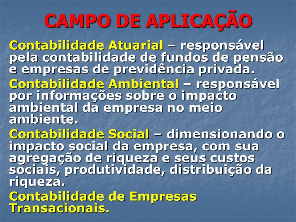 CAMPO DE APLICAÇÃO Contabilidade Atuarial – responsável pela contabilidade de fundos de pensão e empresas de previdência privada. Contabilidade Ambien