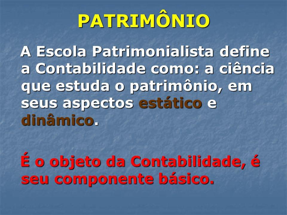 PATRIMÔNIO A Escola Patrimonialista define a Contabilidade como: a ciência que estuda o patrimônio, em seus aspectos estático e dinâmico. A Escola Pat