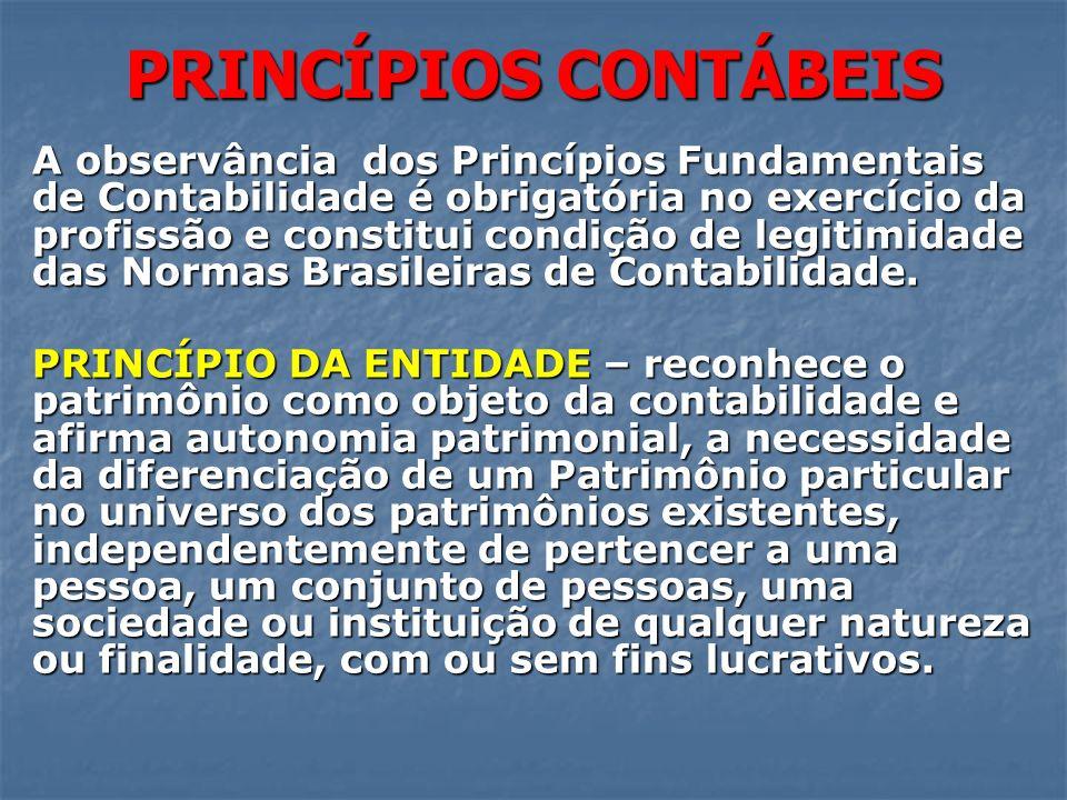 PRINCÍPIOS CONTÁBEIS A observância dos Princípios Fundamentais de Contabilidade é obrigatória no exercício da profissão e constitui condição de legiti