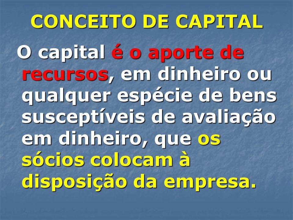 CONCEITO DE CAPITAL O capital é o aporte de recursos, em dinheiro ou qualquer espécie de bens susceptíveis de avaliação em dinheiro, que os sócios col