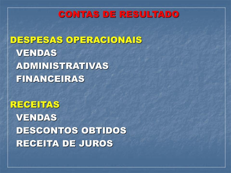 CONTAS DE RESULTADO CONTAS DE RESULTADO DESPESAS OPERACIONAIS VENDAS VENDAS ADMINISTRATIVAS ADMINISTRATIVAS FINANCEIRAS FINANCEIRASRECEITAS VENDAS VEN