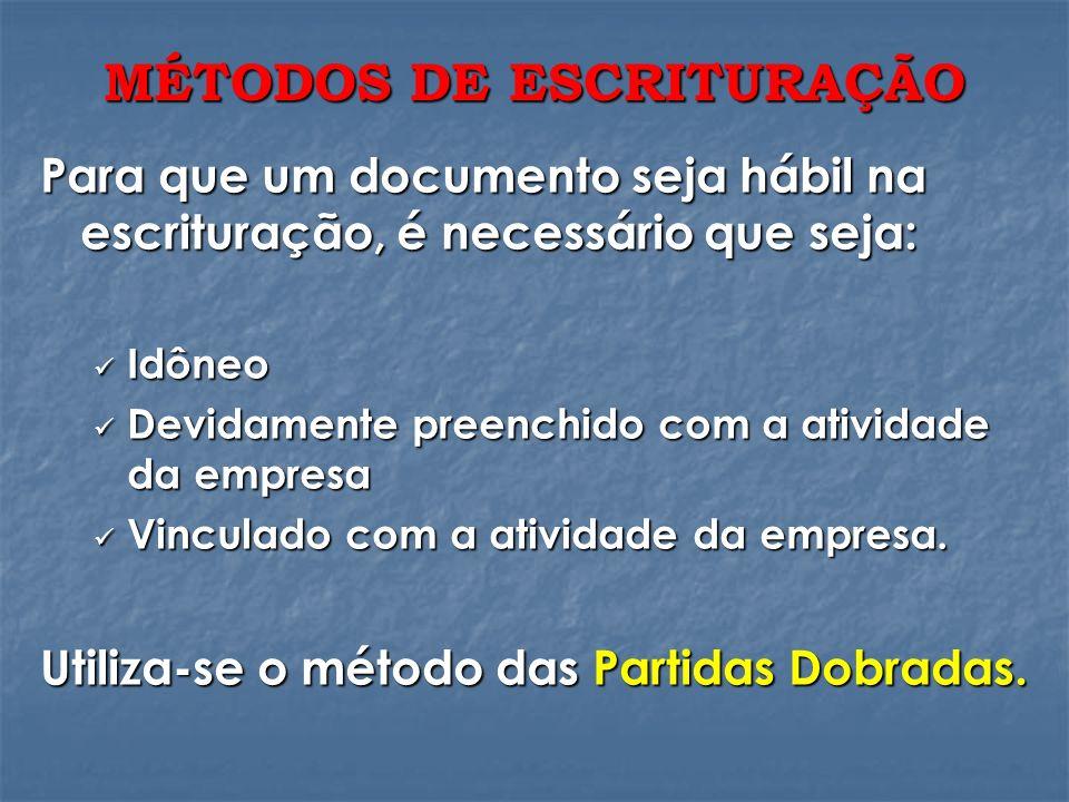 MÉTODOS DE ESCRITURAÇÃO Para que um documento seja hábil na escrituração, é necessário que seja: Idôneo Idôneo Devidamente preenchido com a atividade