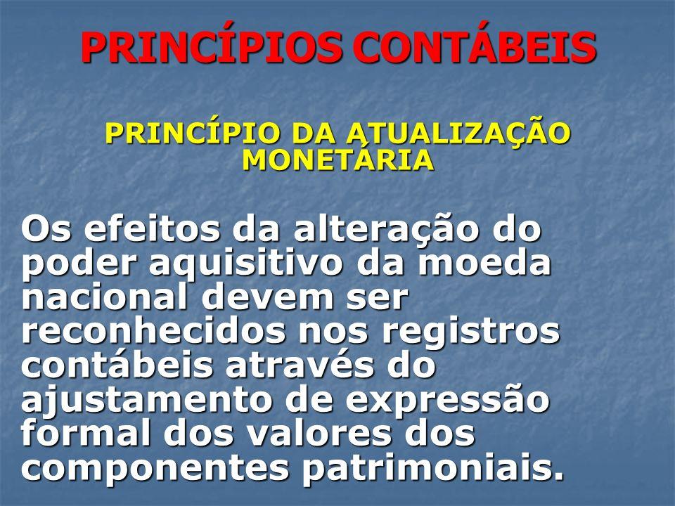 PRINCÍPIOS CONTÁBEIS PRINCÍPIO DA ATUALIZAÇÃO MONETÁRIA Os efeitos da alteração do poder aquisitivo da moeda nacional devem ser reconhecidos nos regis