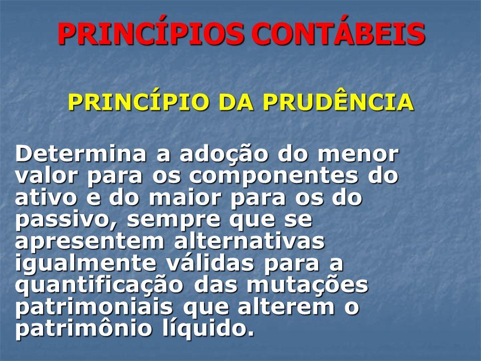 PRINCÍPIOS CONTÁBEIS PRINCÍPIO DA PRUDÊNCIA Determina a adoção do menor valor para os componentes do ativo e do maior para os do passivo, sempre que s