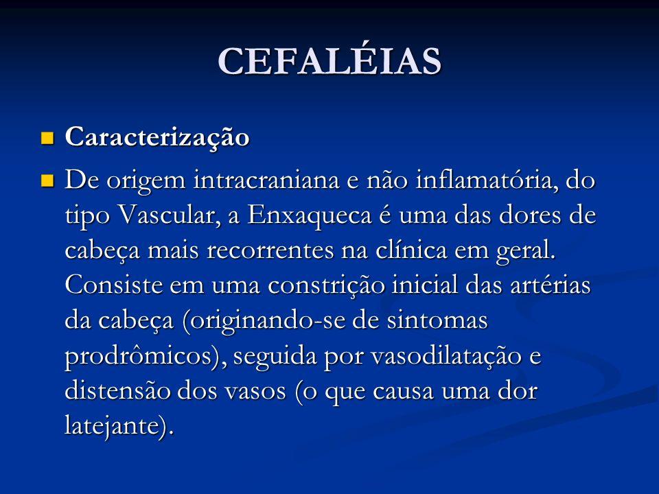 CEFALÉIAS Caracterização Caracterização De origem intracraniana e não inflamatória, do tipo Vascular, a Enxaqueca é uma das dores de cabeça mais recor