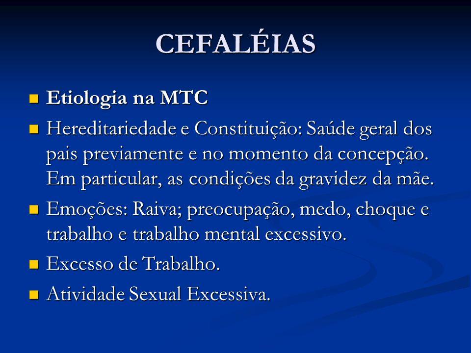 CEFALÉIAS Etiologia na MTC Etiologia na MTC Hereditariedade e Constituição: Saúde geral dos pais previamente e no momento da concepção. Em particular,