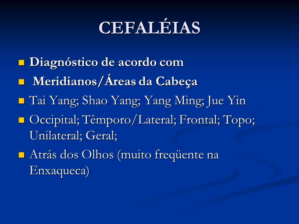 CEFALÉIAS Diagnóstico de acordo com Diagnóstico de acordo com Meridianos/Áreas da Cabeça Meridianos/Áreas da Cabeça Tai Yang; Shao Yang; Yang Ming; Ju