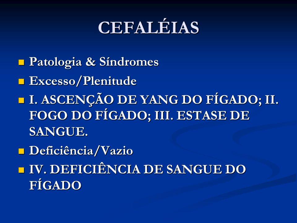 CEFALÉIAS Patologia & Síndromes Patologia & Síndromes Excesso/Plenitude Excesso/Plenitude I. ASCENÇÃO DE YANG DO FÍGADO; II. FOGO DO FÍGADO; III. ESTA