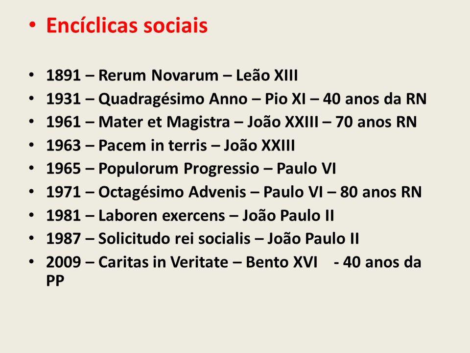 1891 – Rerum Novarum – Leão XIII 1931 – Quadragésimo Anno – Pio XI – 40 anos da RN 1961 – Mater et Magistra – João XXIII – 70 anos RN 1963 – Pacem in