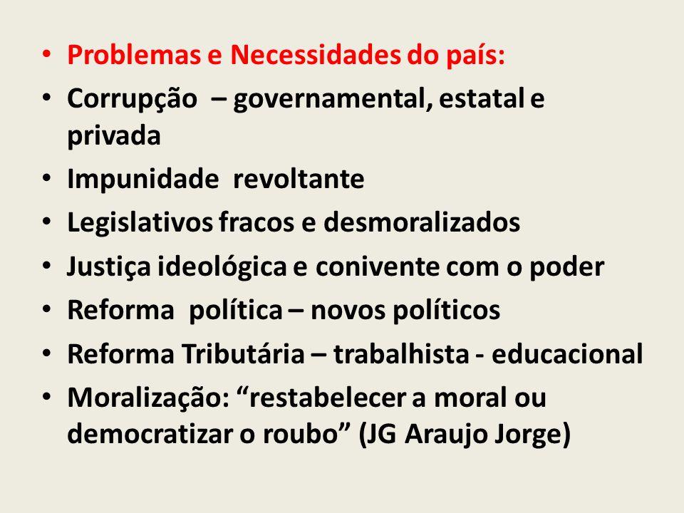 Problemas e Necessidades do país: Corrupção – governamental, estatal e privada Impunidade revoltante Legislativos fracos e desmoralizados Justiça ideo