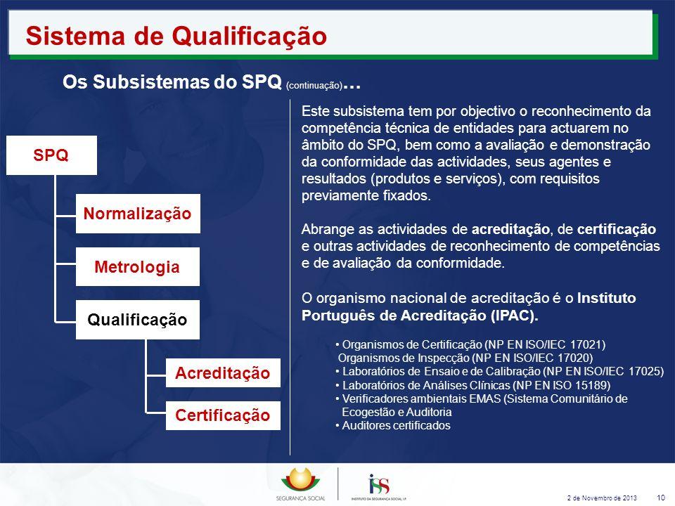2 de Novembro de 2013 10 Sistema de Qualificação Os Subsistemas do SPQ (continuação) … Este subsistema tem por objectivo o reconhecimento da competênc