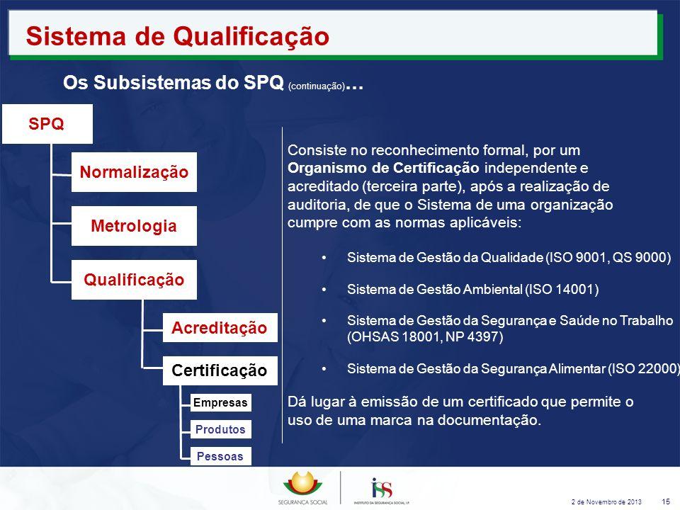 2 de Novembro de 2013 15 Sistema de Qualificação Os Subsistemas do SPQ (continuação) … Consiste no reconhecimento formal, por um Organismo de Certific