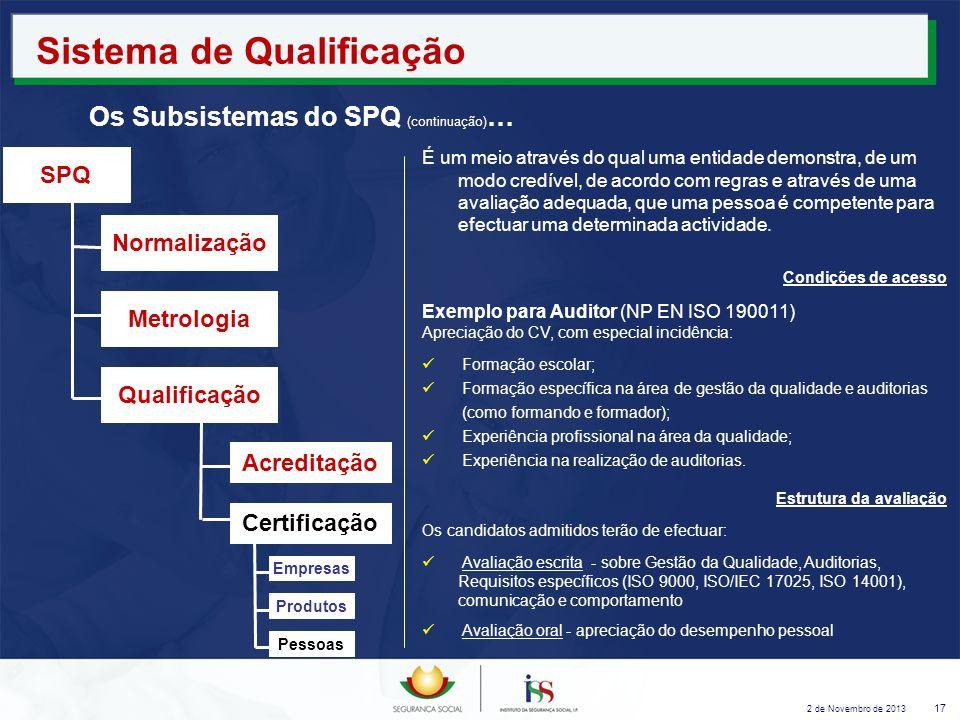 2 de Novembro de 2013 17 Sistema de Qualificação Os Subsistemas do SPQ (continuação) … É um meio através do qual uma entidade demonstra, de um modo cr